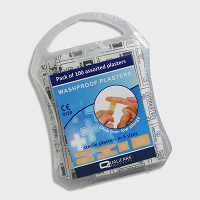 Washproof Assorted Plasters - Plastic Case of 100 WAPPC100